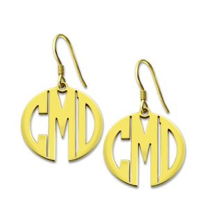 Gold Plated Silver Personalized wonderful Block Monogram Earrings
