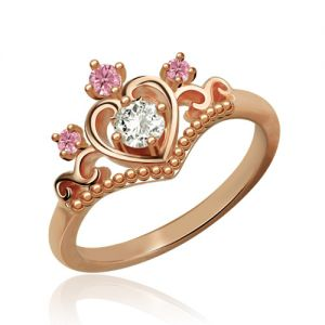 Chaming Birthstone Princess Tiara Rose Gold Ring