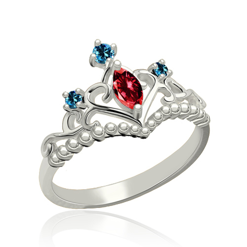 Unique Birthstone Tiara Ring Platinum Plated