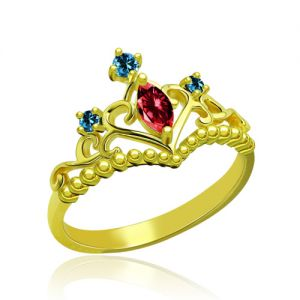 Unique Birthstone Tiara Ring Gold Plated