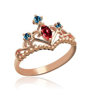 Unique Birthstone Tiara Ring In Rose Gold
