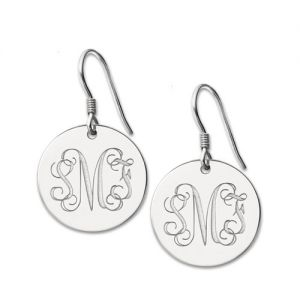 A Noble Decoration-Disc Signet Monogrammed Earrings Sterling Silver