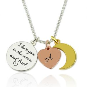 I Love You To The Moon And Back Charm Necklace Sterling Silver