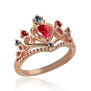 Beautiful Tiara Birthstone Ring In Rose Gold