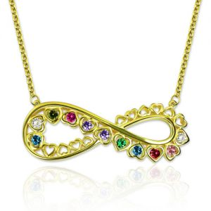 Unique Infinity Heart Necklace With Birthstones Gold Plated