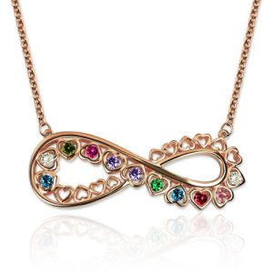 Unique Infinity Heart Necklace With Birthstones In Rose Gold