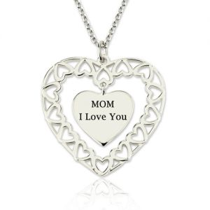 Engraved Heart Love Necklace for Mom Sterling Silver