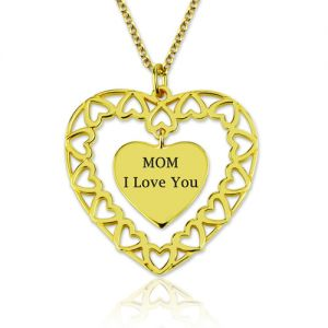 Engraved Love Heart-shaped Charm Necklace Gold Plated