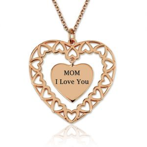 Engraved Love Heart Charm Necklace In Rose Gold