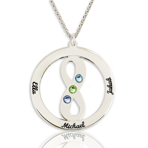 Circle Name Necklace with Infinity Symbol Sterling Silver