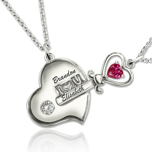 Key to My Heart Birthstone Necklace For Mother And Daughter In Platinum Plated