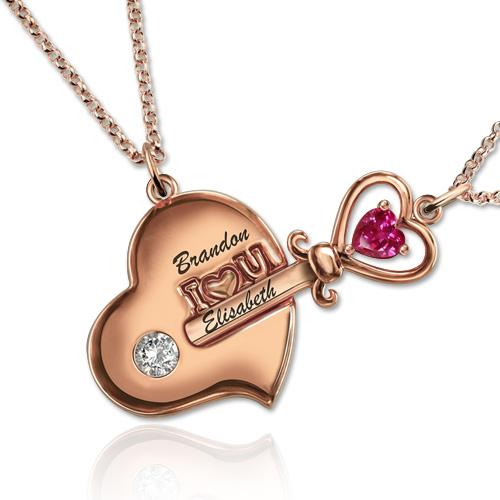 Toll Partner Schlüssel Zu Meinem Herzen Geburtsstein Halskette In Rosa Gold