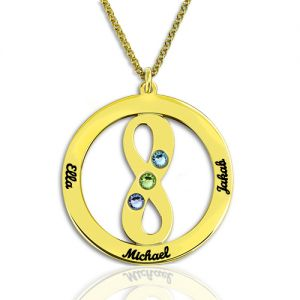 Circle Name Necklace with Infinity Symbol Gold Plated