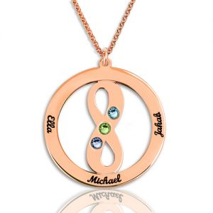 Circle Name Necklace with Infinity Symbol In Rose Gold