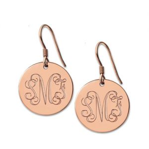 Disc Signet Monogram Earrings Rose Gold