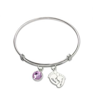 Baby Feet Bangle With Birthstone Platinum Plated