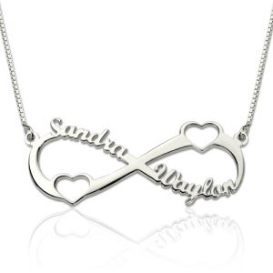 Double Heart Infinity Names Necklace Sterling Silver