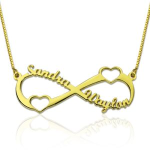 Double Heart Infinity Names Necklace Gold Plated