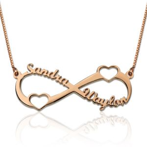 Double Heart Infinity Names Necklace In Rose Gold