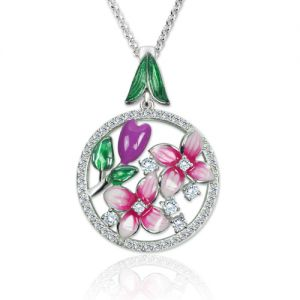 Flowers Pendant Necklace with Birthstones Platinum Plated