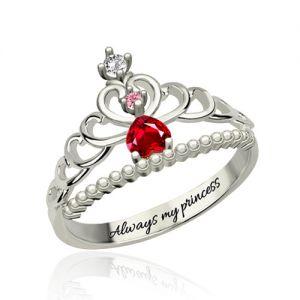 Fairytale Princess Tiara Birthstone Ring Sterling Silver