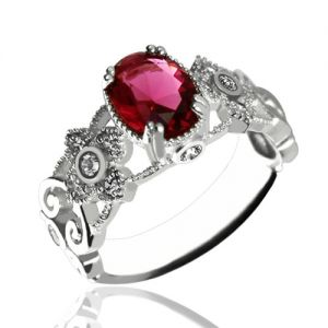 Gorgeous Birthstone Engraved Mantilla Oval Name Ring Silver