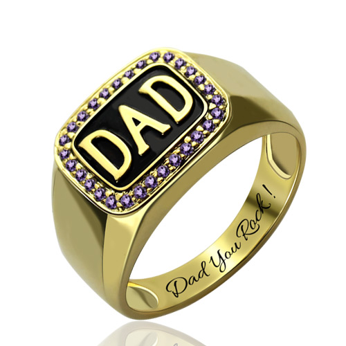 18k Gold Plated Men S Diamond Dad Ring Father S Day Gift