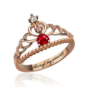 Fairytale Princess Tiara Birthstone Ring In Rose Gold Engraved