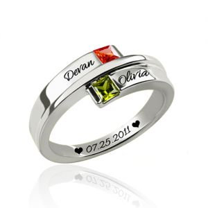 Engraved Double-Square Birthstones Ring Platinum Plated