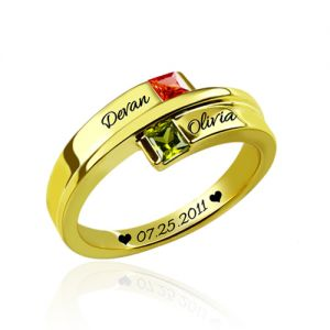 Engraved Square Birthstones Memorial Name Ring Gold Plated
