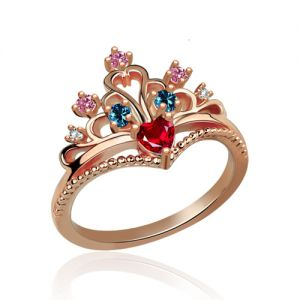 Multi-Stone Heart Princess Crown Ring In Rose Gold