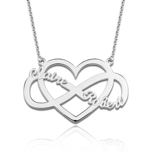Infinity and Heart Name Necklace Sterling Silver