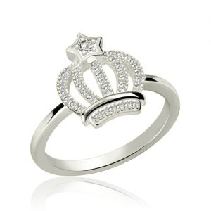 Sparkle Birthstone Crown Ring Platinum Plated Silver