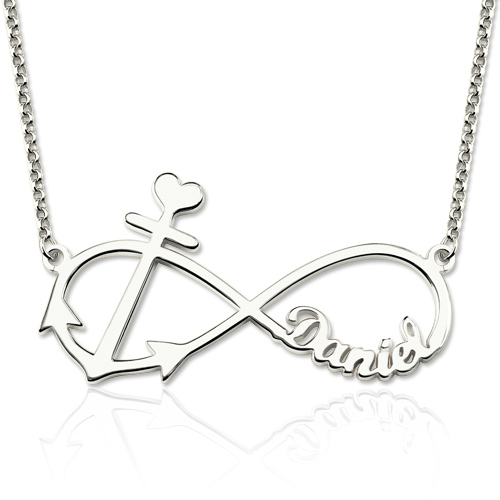 Forever Love Infinity Anchor Name Necklace Silver