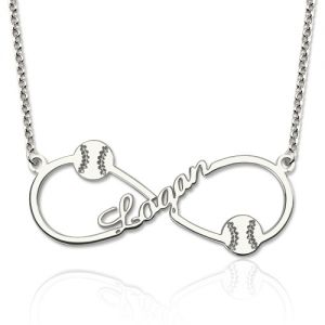 Customized Infinity Baseball Name Necklace Sterling Silver