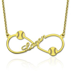Custom Infinity Baseball Name Necklace Gold Plated