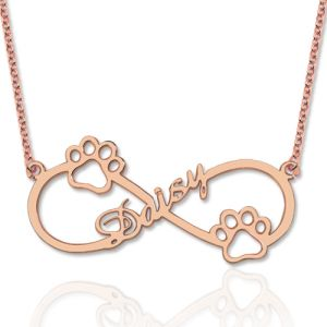 Cute Infinity Name Necklace With Dog Paw In Rose Gold