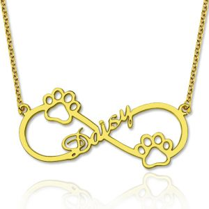 Cute Infinity Name Necklace With Dog Paw Gold Plated