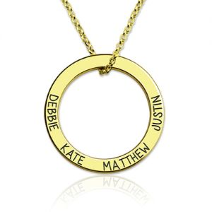 Engraved 4 Friend or Family Names Hoop Necklace Gold Plated