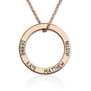 Engraved Names Hoop Family Necklace In Rose Gold