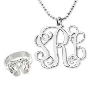 Monogram Ring & Monogram Necklace Set Sterling Silver