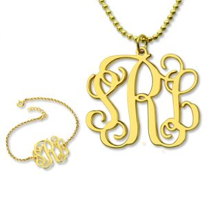 Personalize Monogram Bracelet & Necklace Set Gold Plated