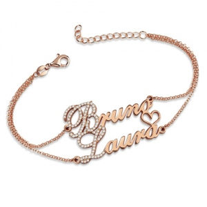 Two Names With Birthstones-Double Chain Bracelet In Rose Gold
