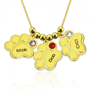 Multiple Engraved Paw Names Necklace With Birthstones Gold Plated