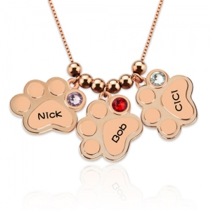 Multiple Engraved Paw Print Necklace With Birthstones In Rose Gold
