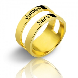 Engraved Two Names Double Band Ring Gold Plated