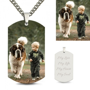 Engraved Stainless Steel Kid's Photo Dog Tag Necklace