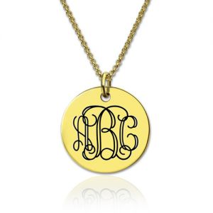 Engraved Disc Monogram Necklace Gold Plated Silver