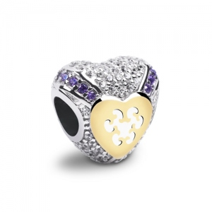 Striking Embellished with over 100 Glittering Stones Dazzling Heart Charm