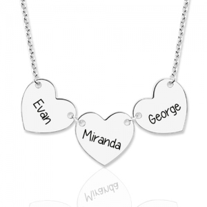Custom Engraved 3 Hearts & Names Necklace Sterling Silver